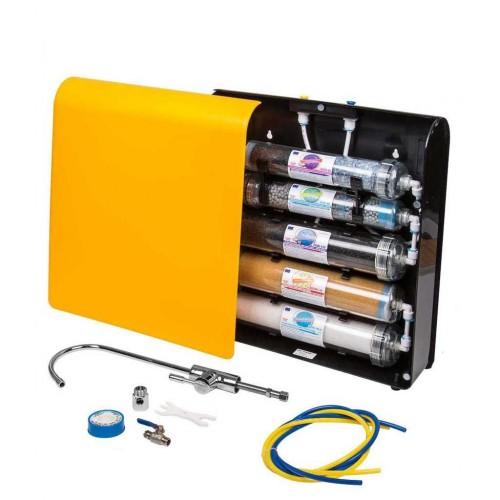Aquafilter EXCITO-CL, sistem de alcalinizare in 5 statii cu cartuse transparente