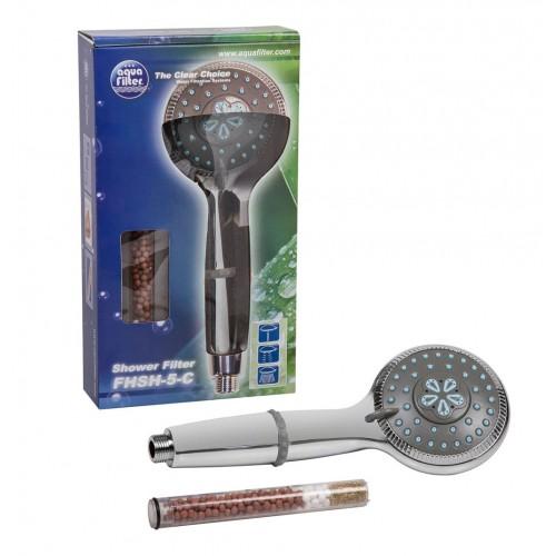 Para de dus cu filtru, Aquafilter FHSH-5-C, anticlor si metale grele, diametru 10 cm
