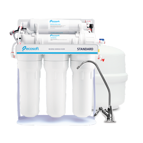 Ecosoft Standard MO650M1PSECOST, osmoza inversa in 6 stadii cu pompa de presiune, cadru metalic, membrana de 50 GPD si remineralizare